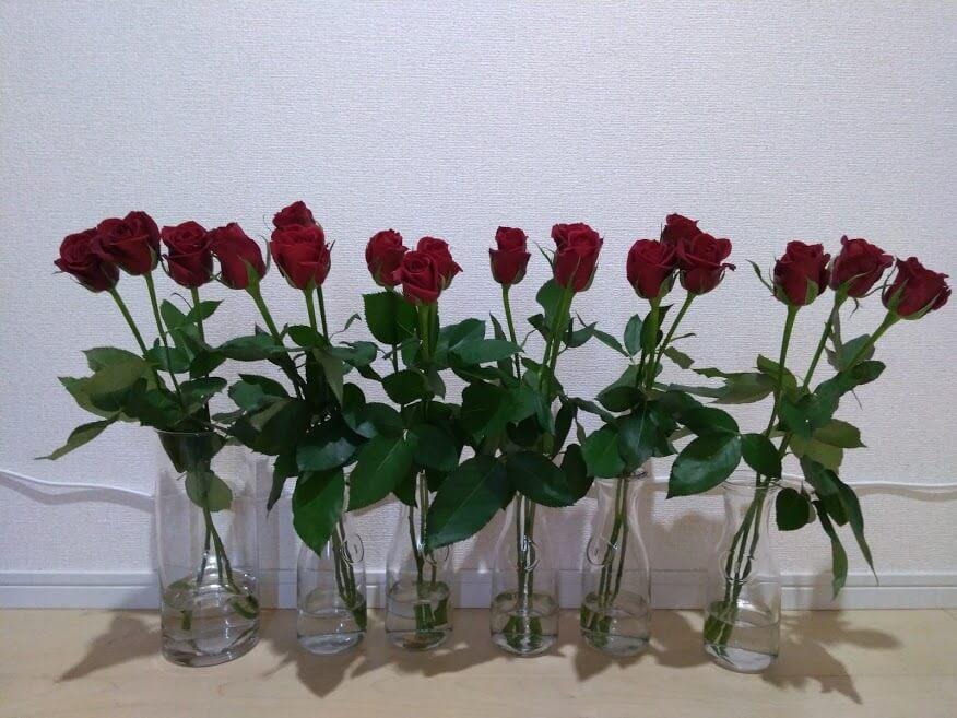 バラの花もち実験 1日目